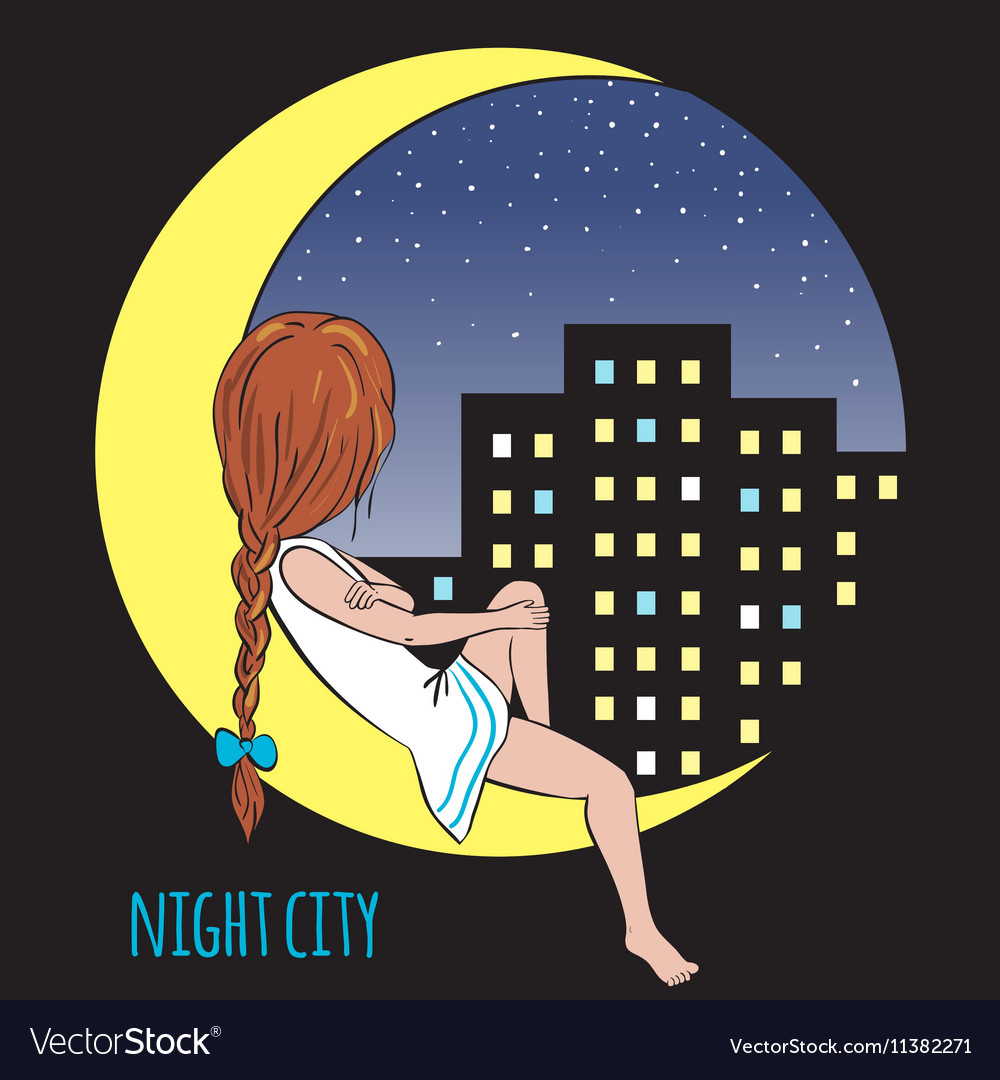 Girl in the moon and night city