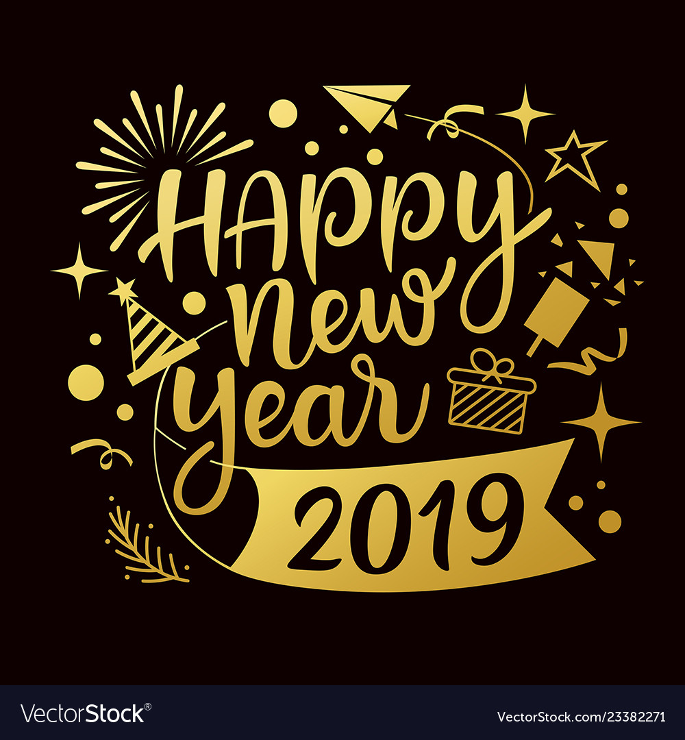 Happy new year 2019 message with icons gold