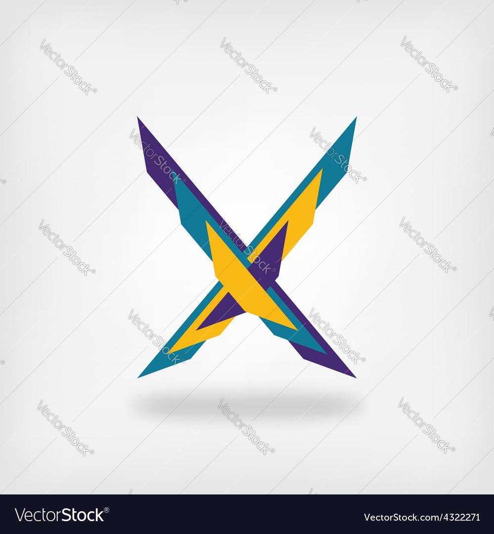 Letter X colored symbol