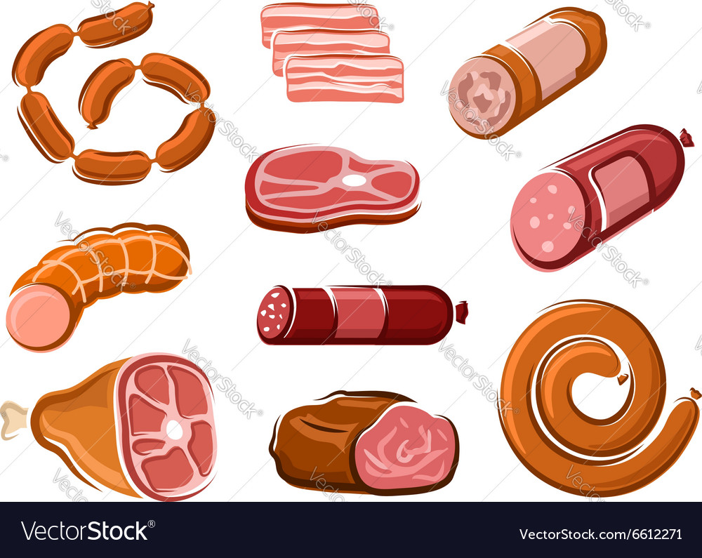 Sausages ham bacon roast beef and steak
