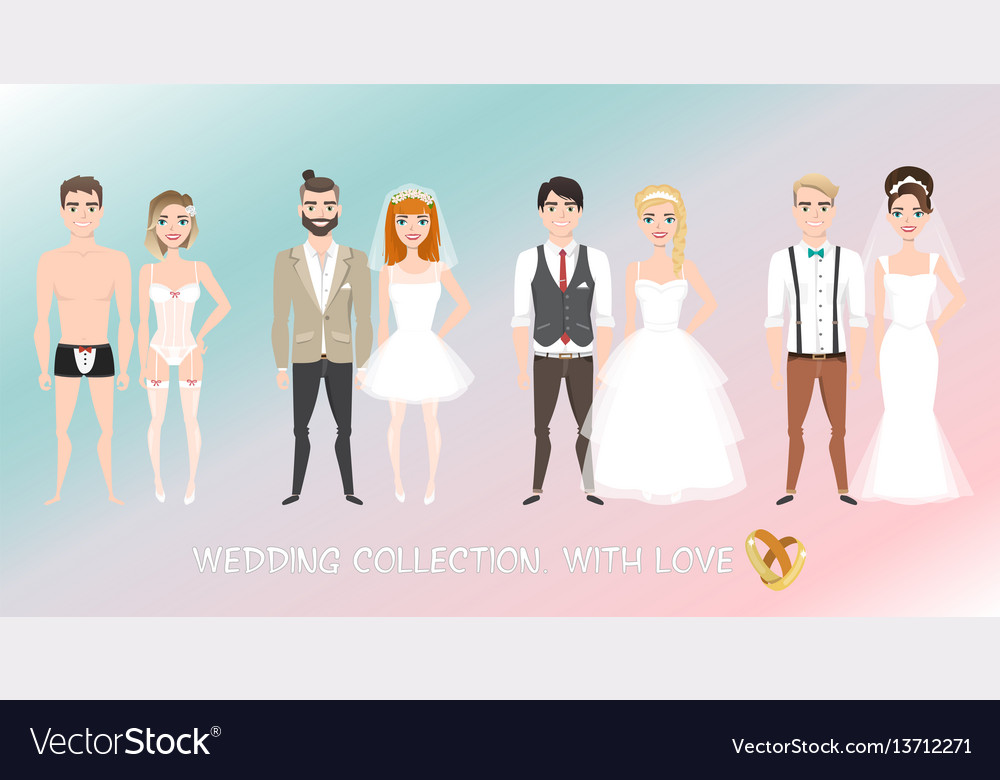 Set of couples newlyweds in cartoon style