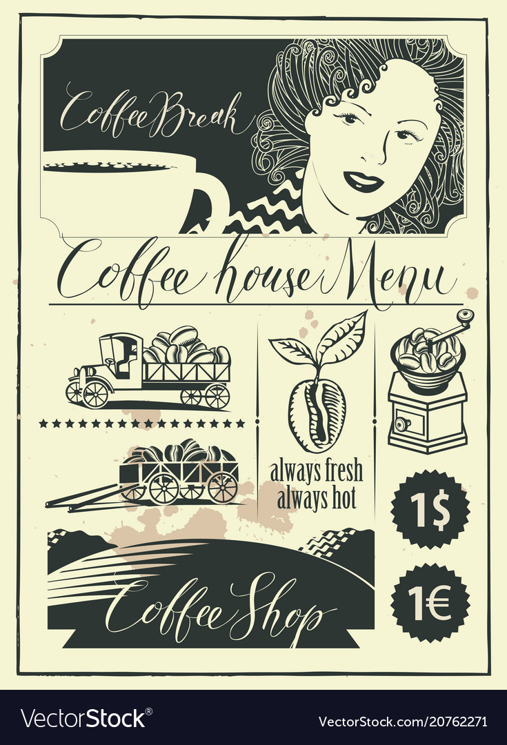 Set of design elements on coffee theme with girl