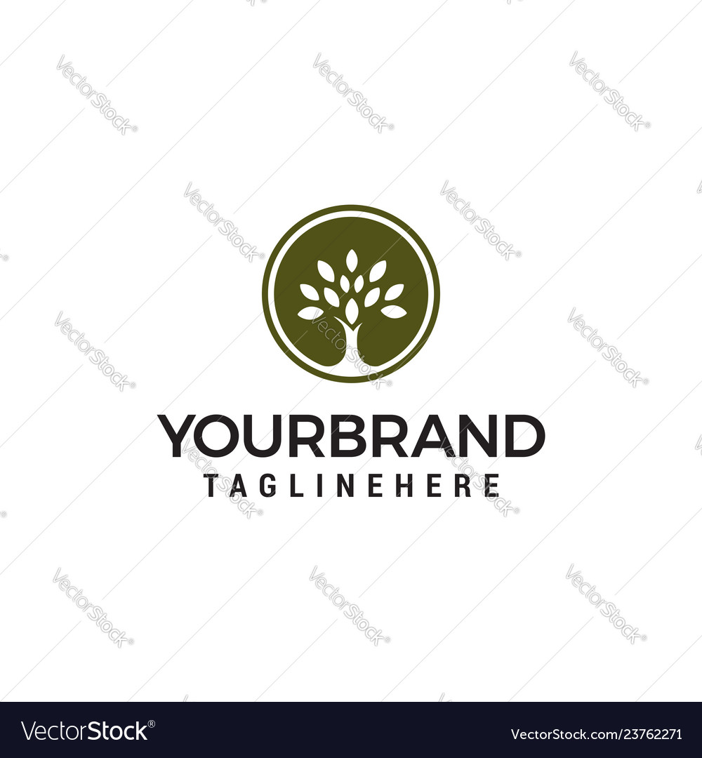 Tree circle logo abstract design template eco
