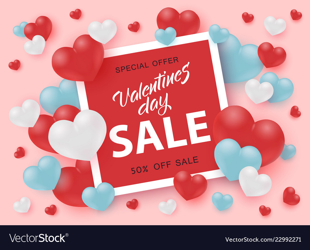 Valentines Day Sale Banner With Sign In Bright Red