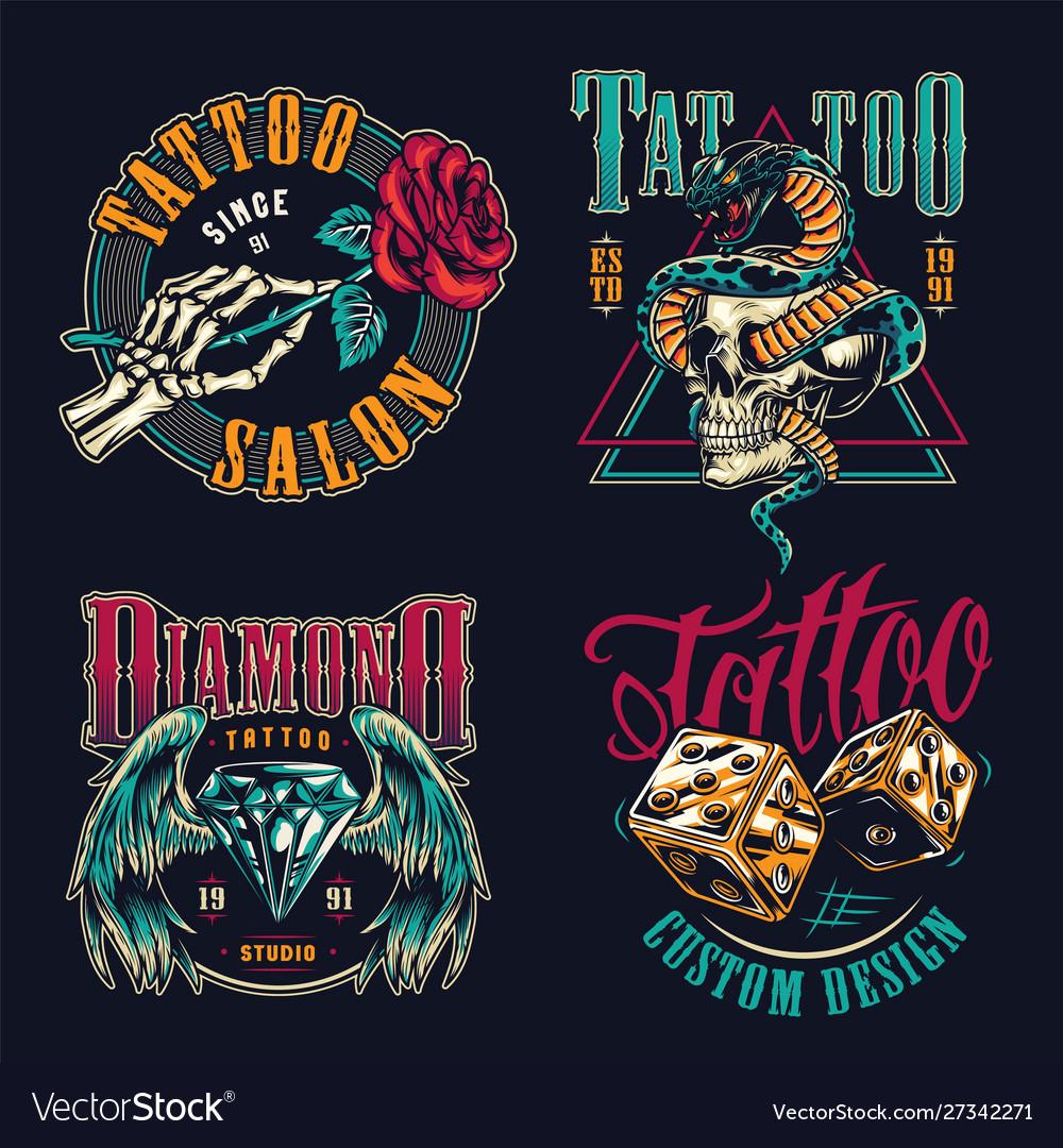 Vintage tattoo studio colorful badges