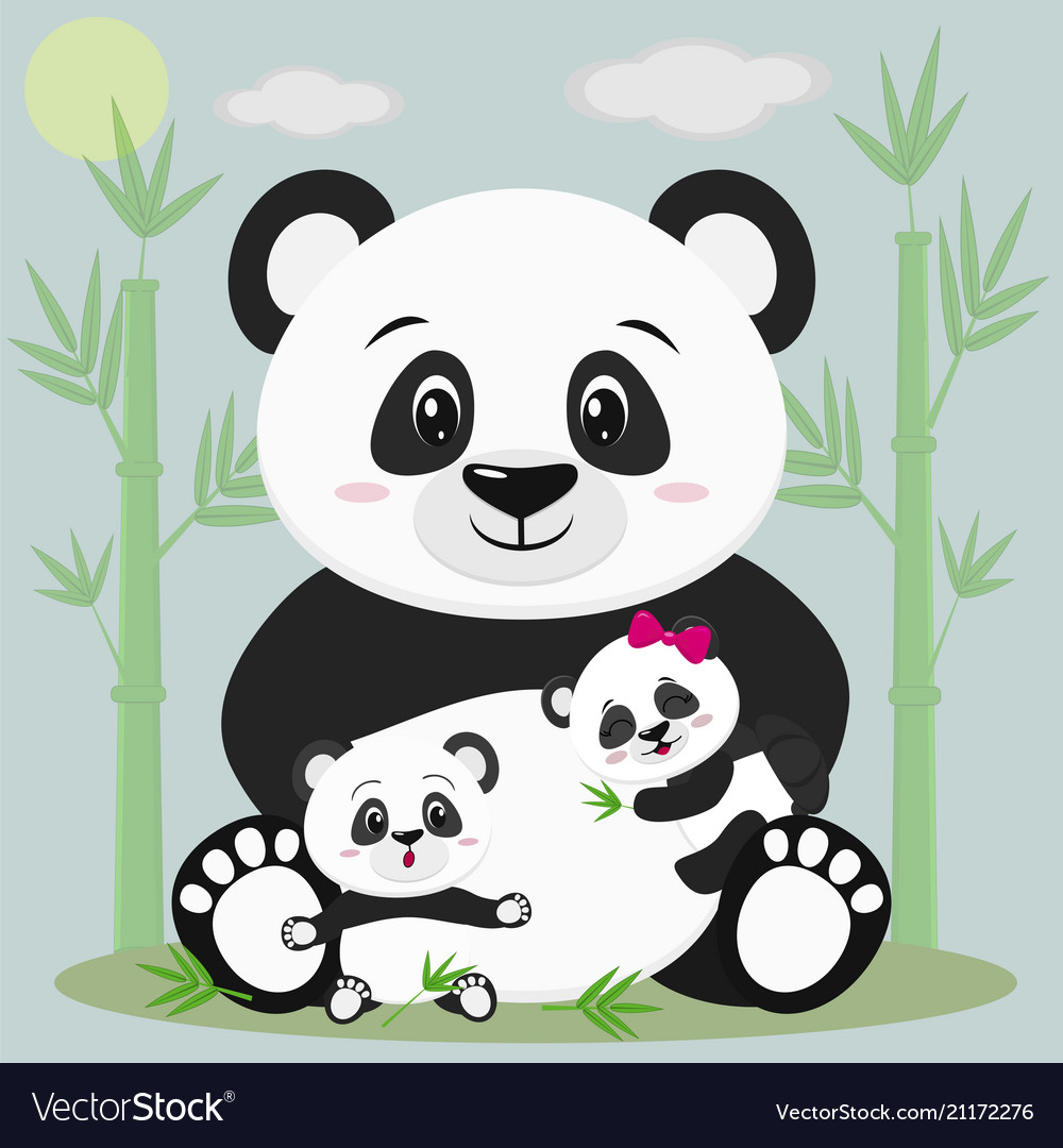 A sweet panda sits and holds a child with a bow
