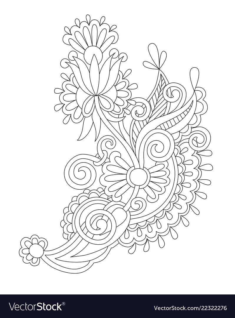 Black line drawing of paisley design flower