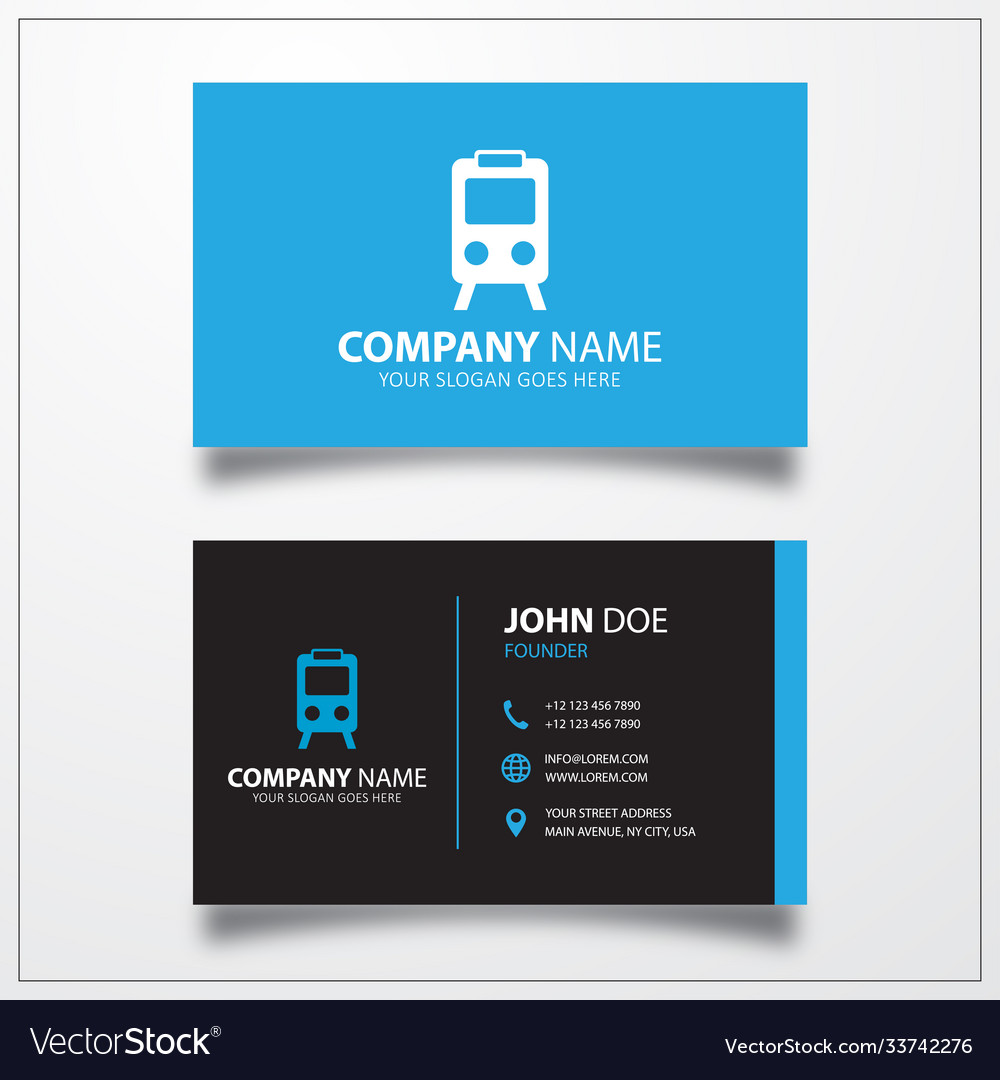 City railway station icon business card template