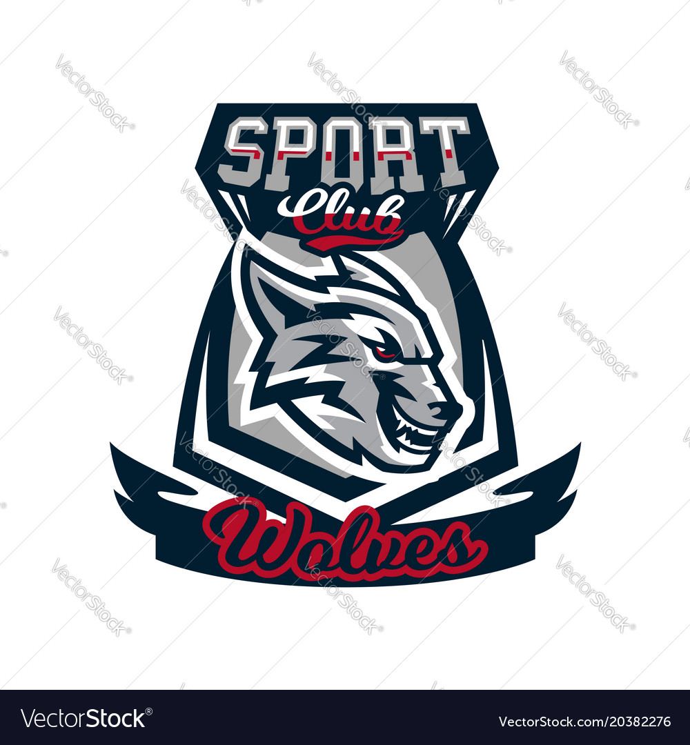 Colourful emblem logo sticker aggressive wolf vector image