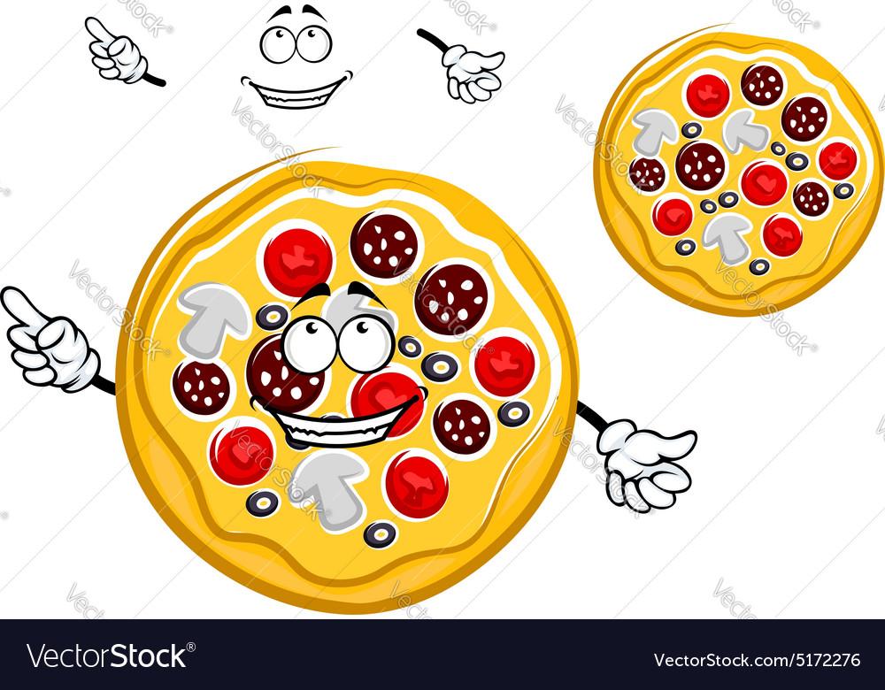 Fast food pepperoni pizza cartoon character