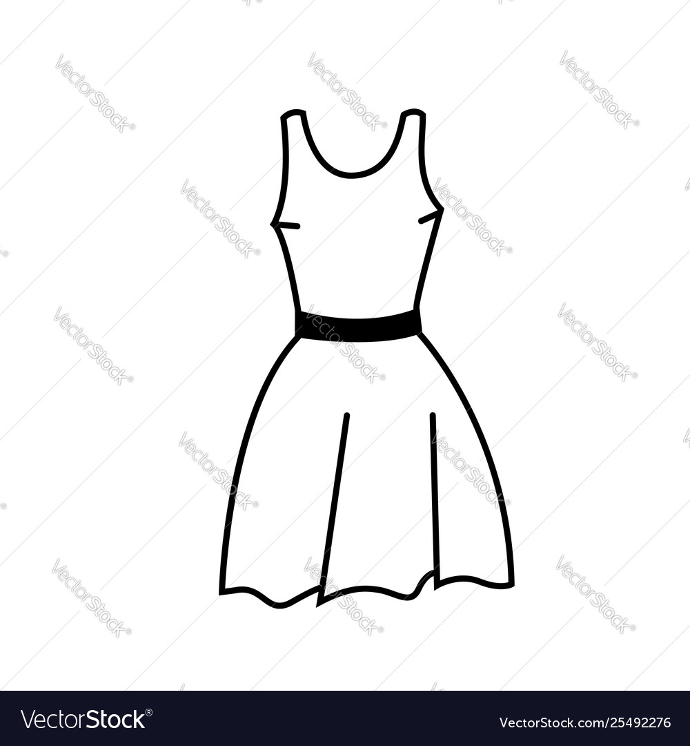 Flat dress icon or silhouette isolated on white