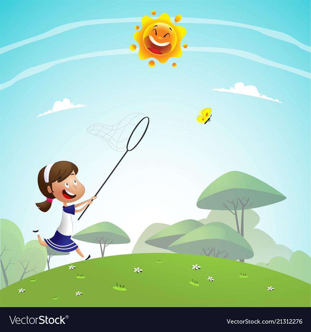 Girl catching butterflies with net
