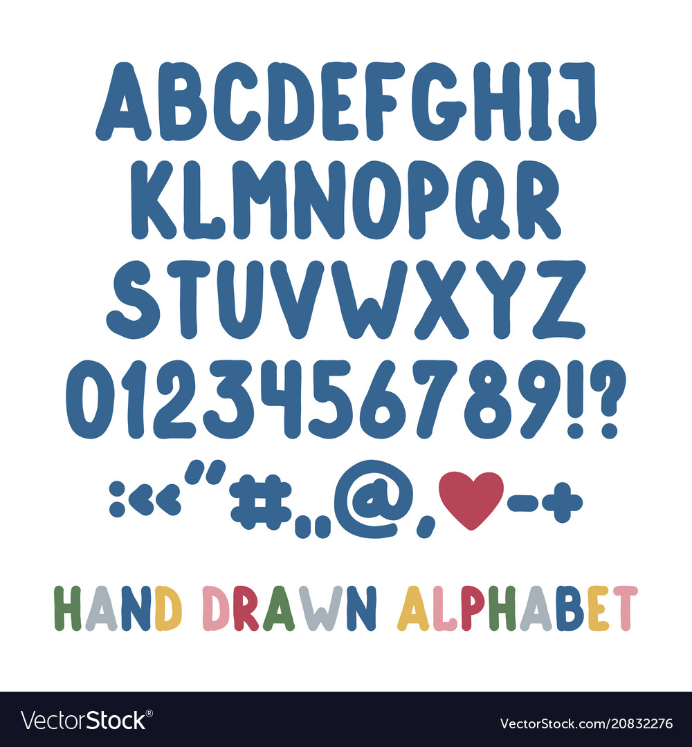Hand drawn english alphabet punctuation marks and