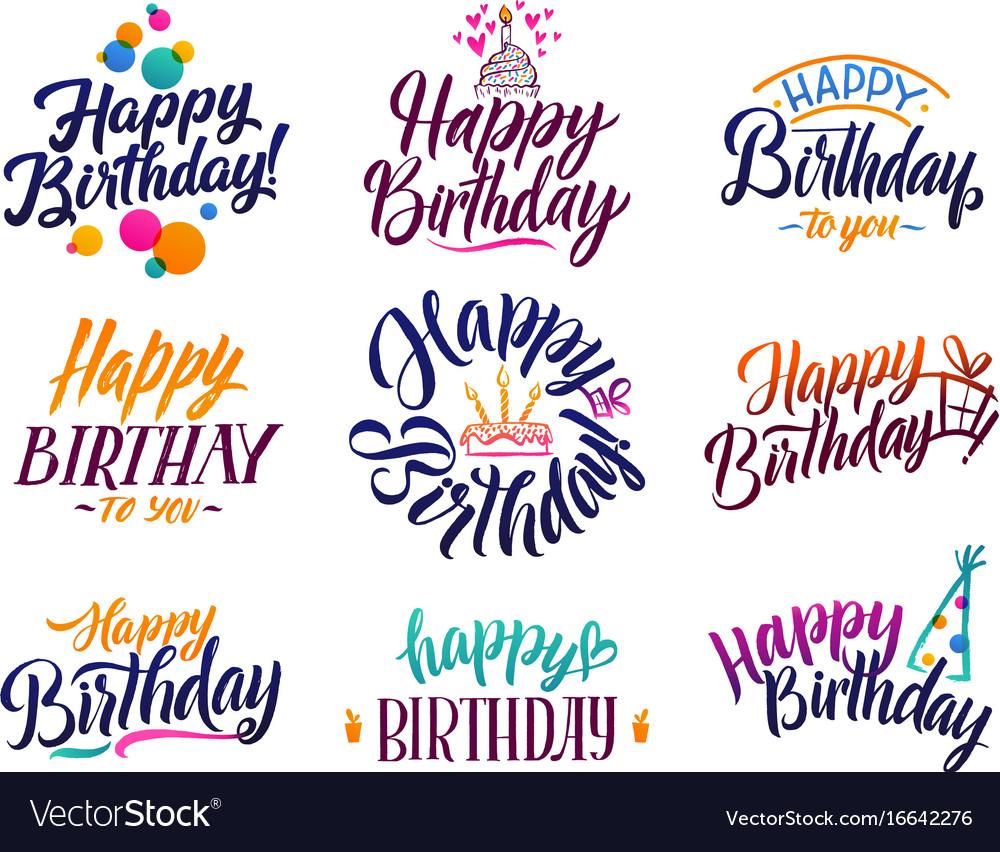 Happy Birthday Elegant Brush Script Text Vector Image