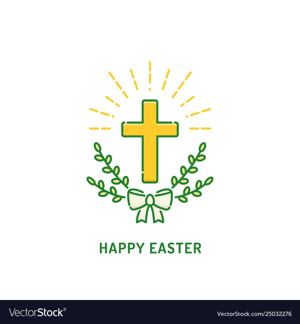 Happy easter greeting card christian cross with