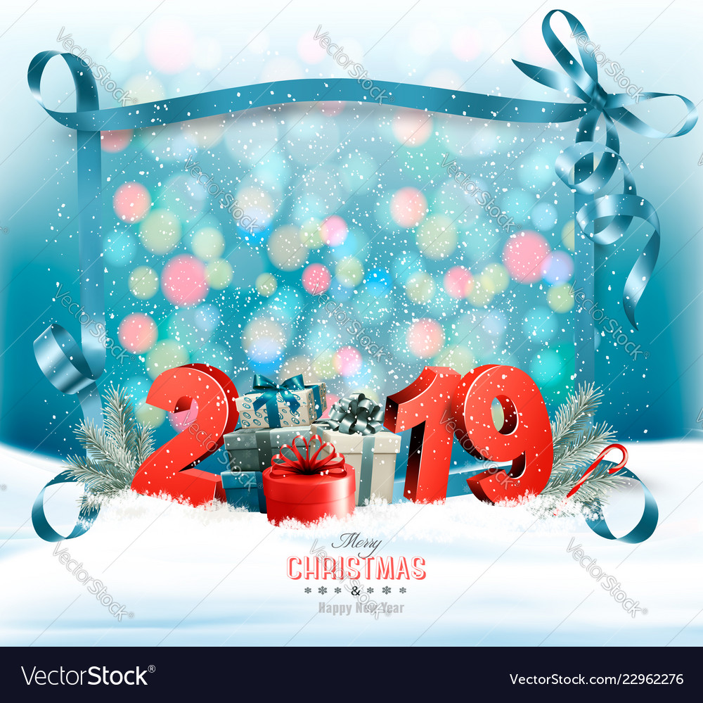 Holiday Christmas Background.Holiday Christmas Background With 2019 And A Gift