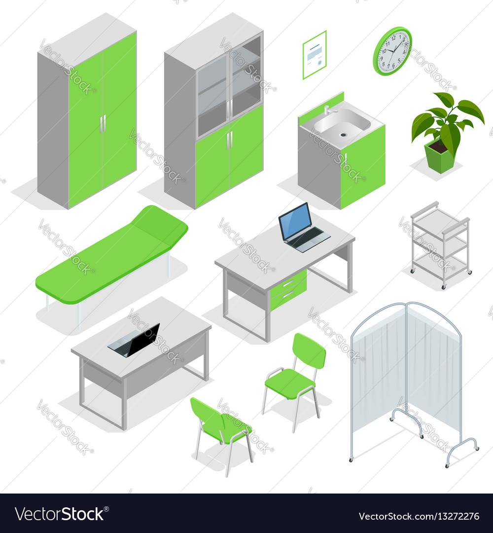 Isometric set of hospital equipment and furniture