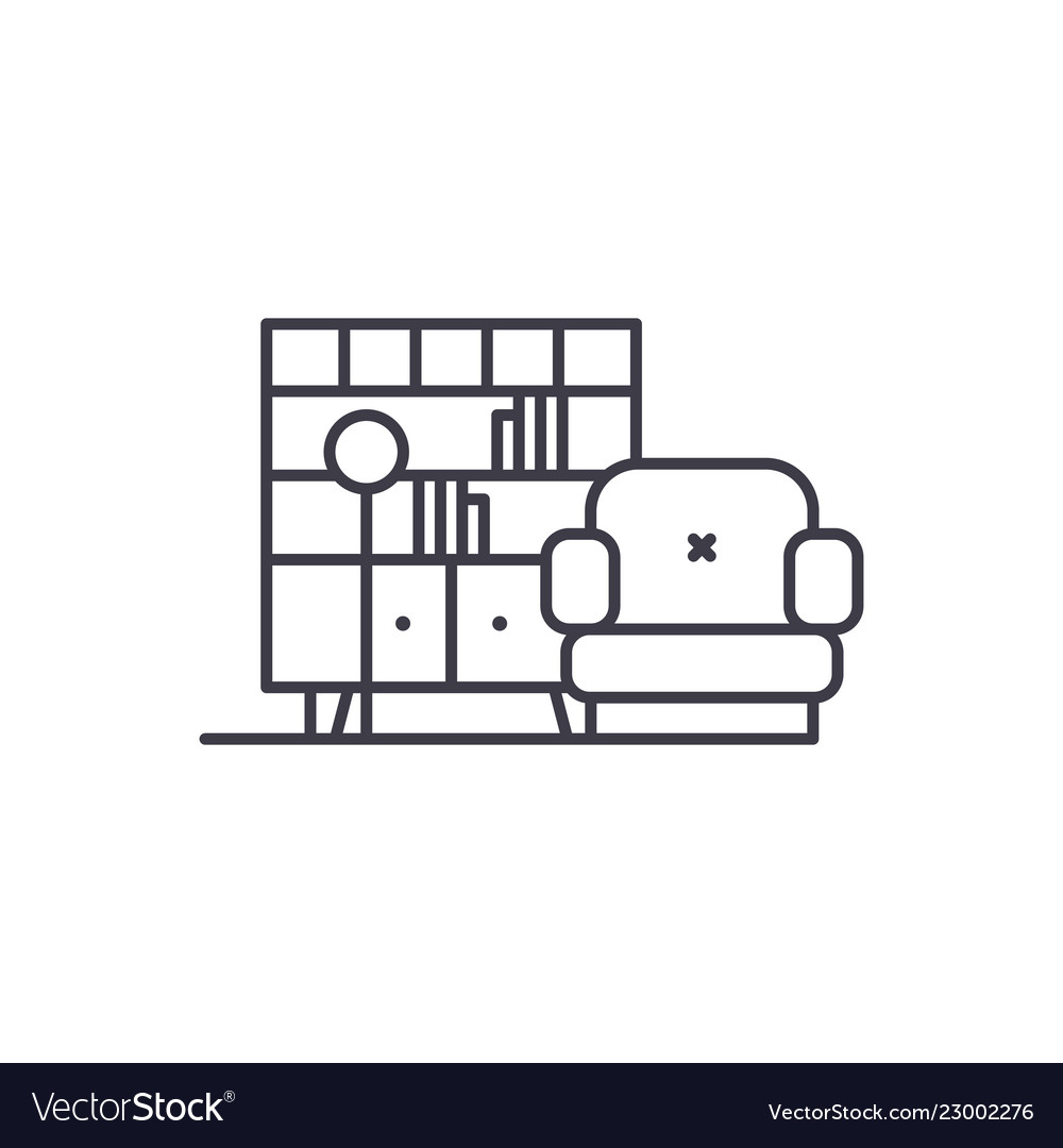 Living room line icon concept living room