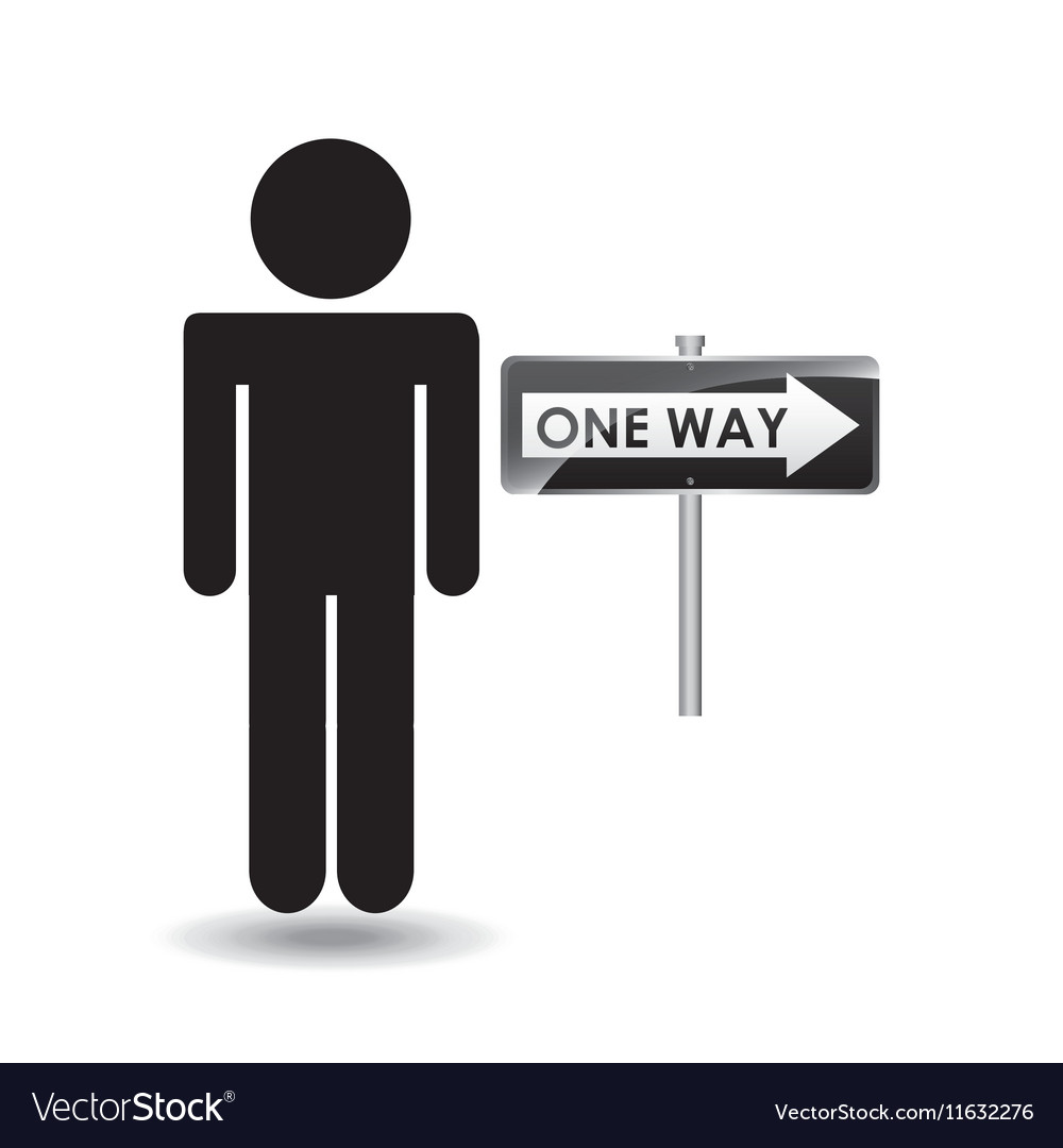 Road sign one way silhouette man