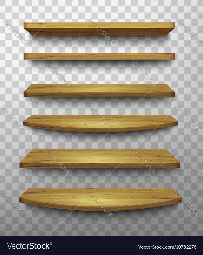 Set of wooden shelves on a transparent background