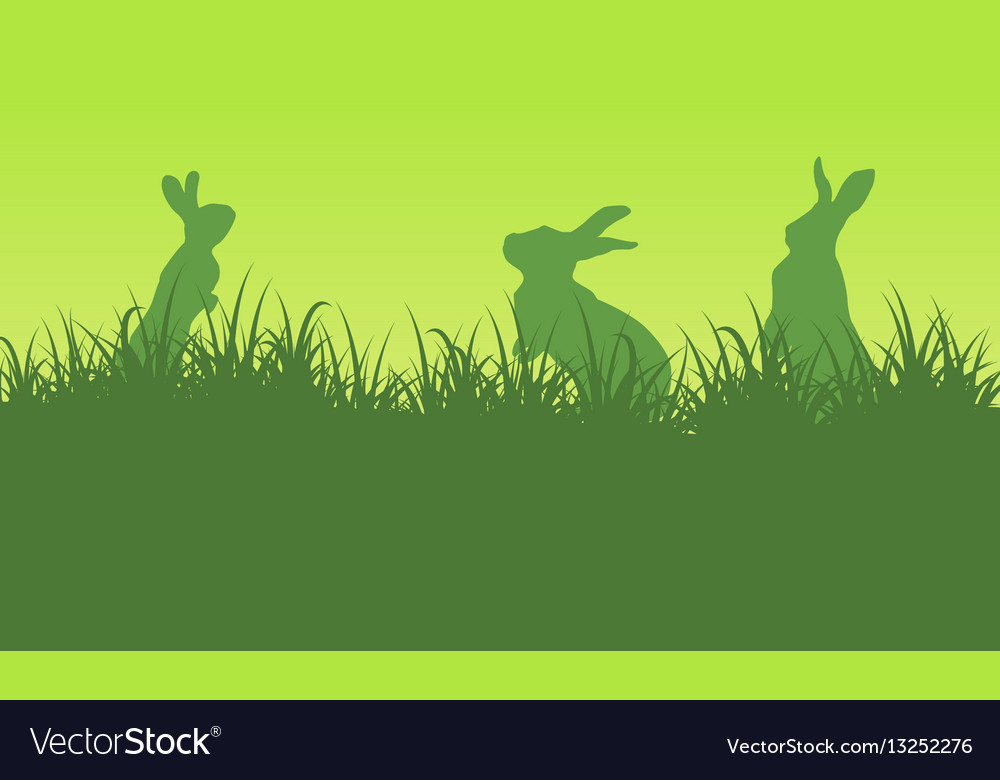 Silhouette of bunny on green backgrounds