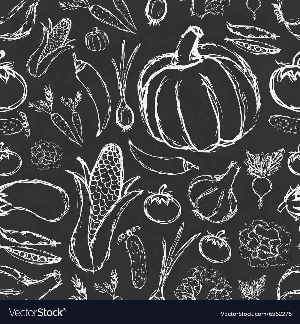 Simple hand drawn doodle vegetables on black board vector image