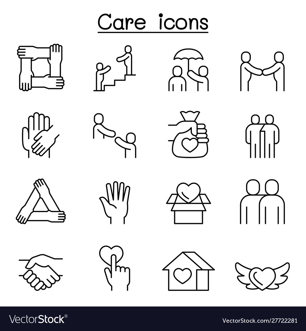 Care protect charity donation icon set in thin