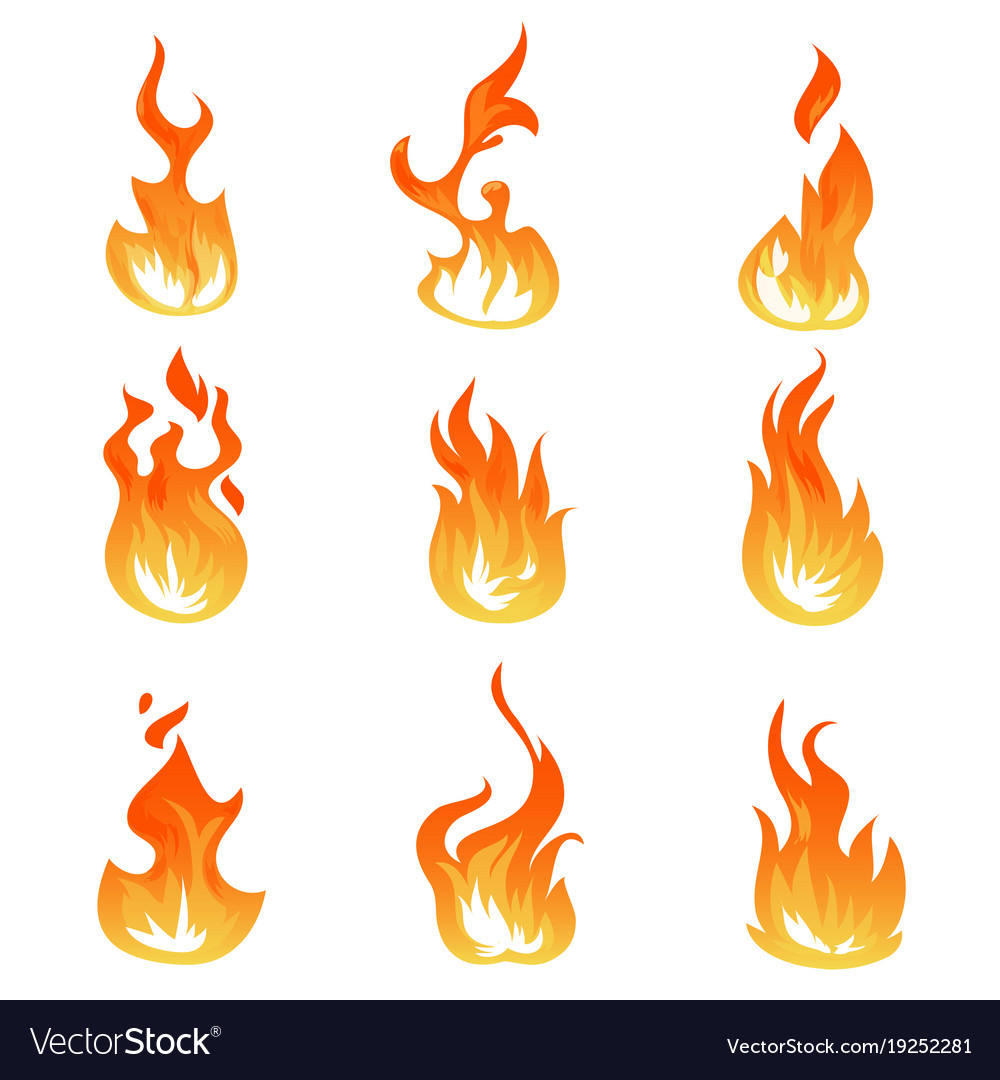 cartoon fire flames set ignition light royalty free vector rh vectorstock com cartoon flame outline cartoon frames