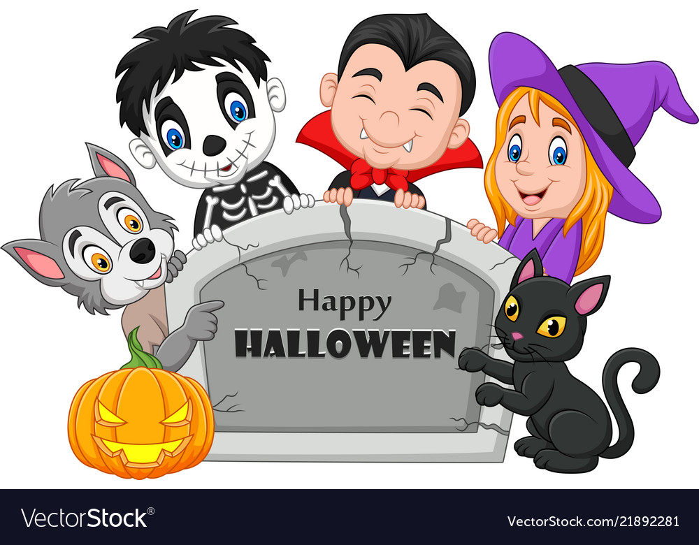 Cartoon Kids With Halloween Costume Royalty Free Vector