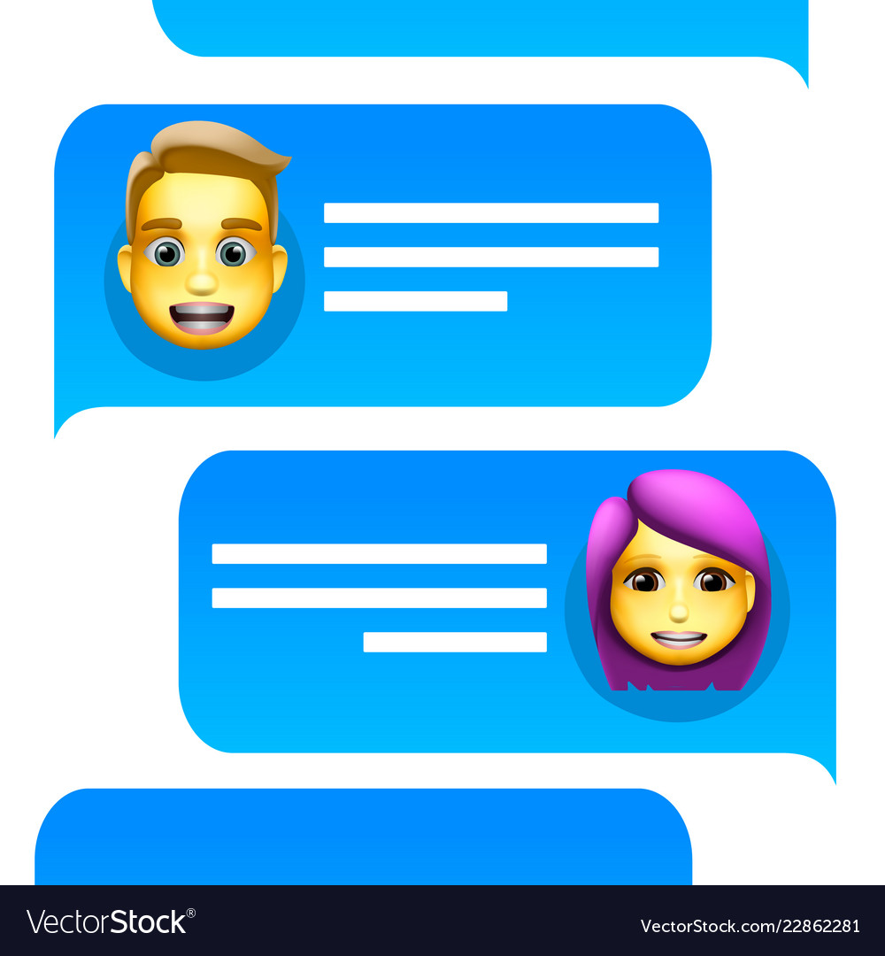 Chat bot man and woman emoji concept modern style