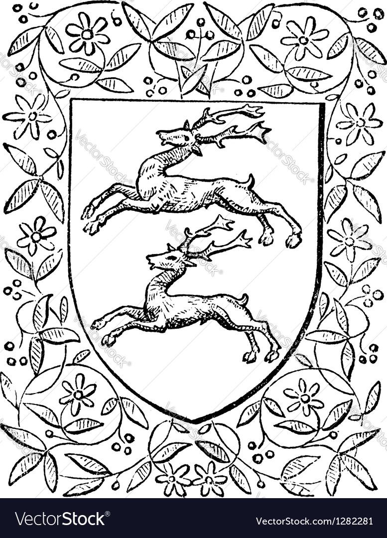 Deer heraldry vintage engraving