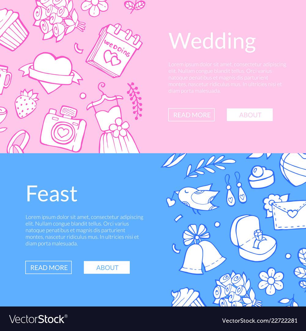 Doodle wedding elements web banner