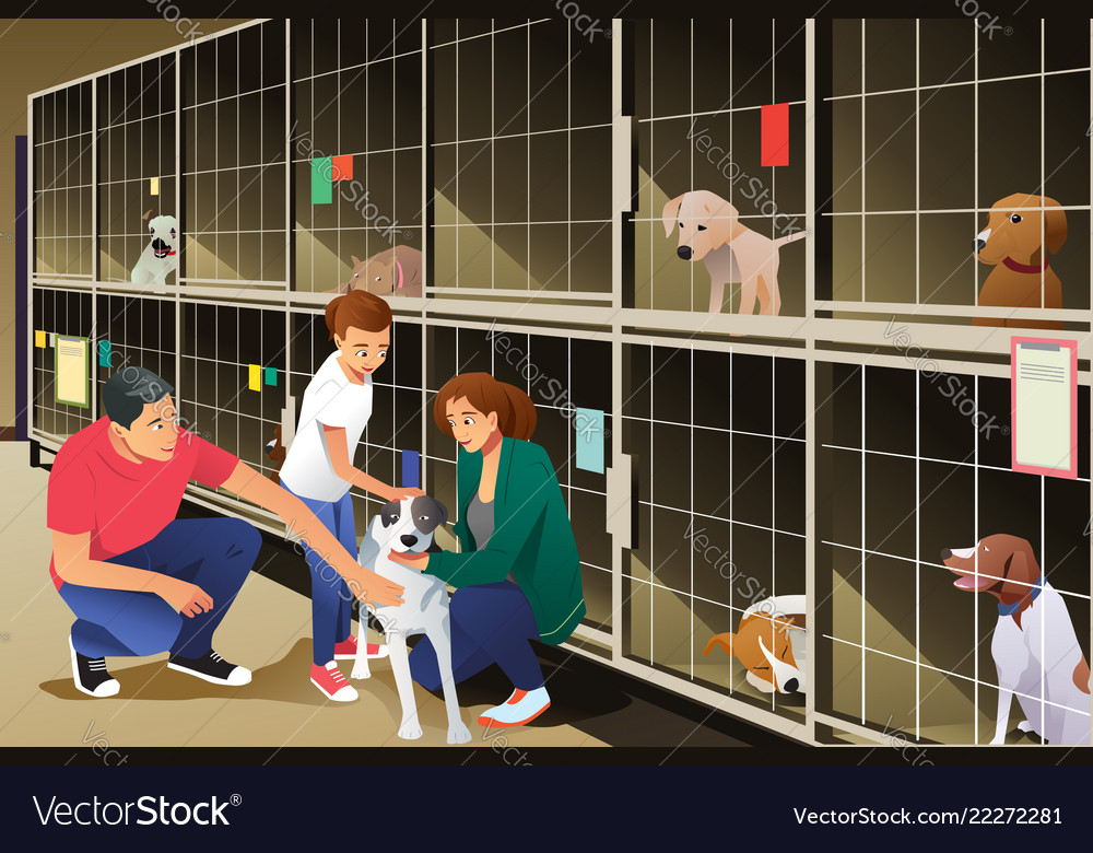 Family adopting a dog from animal shelter