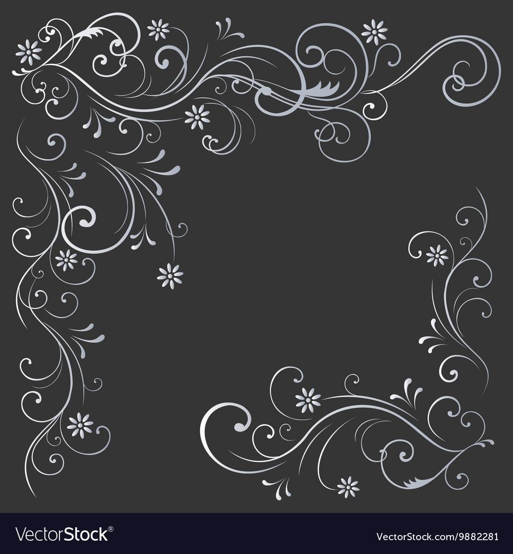Floral pattern white black