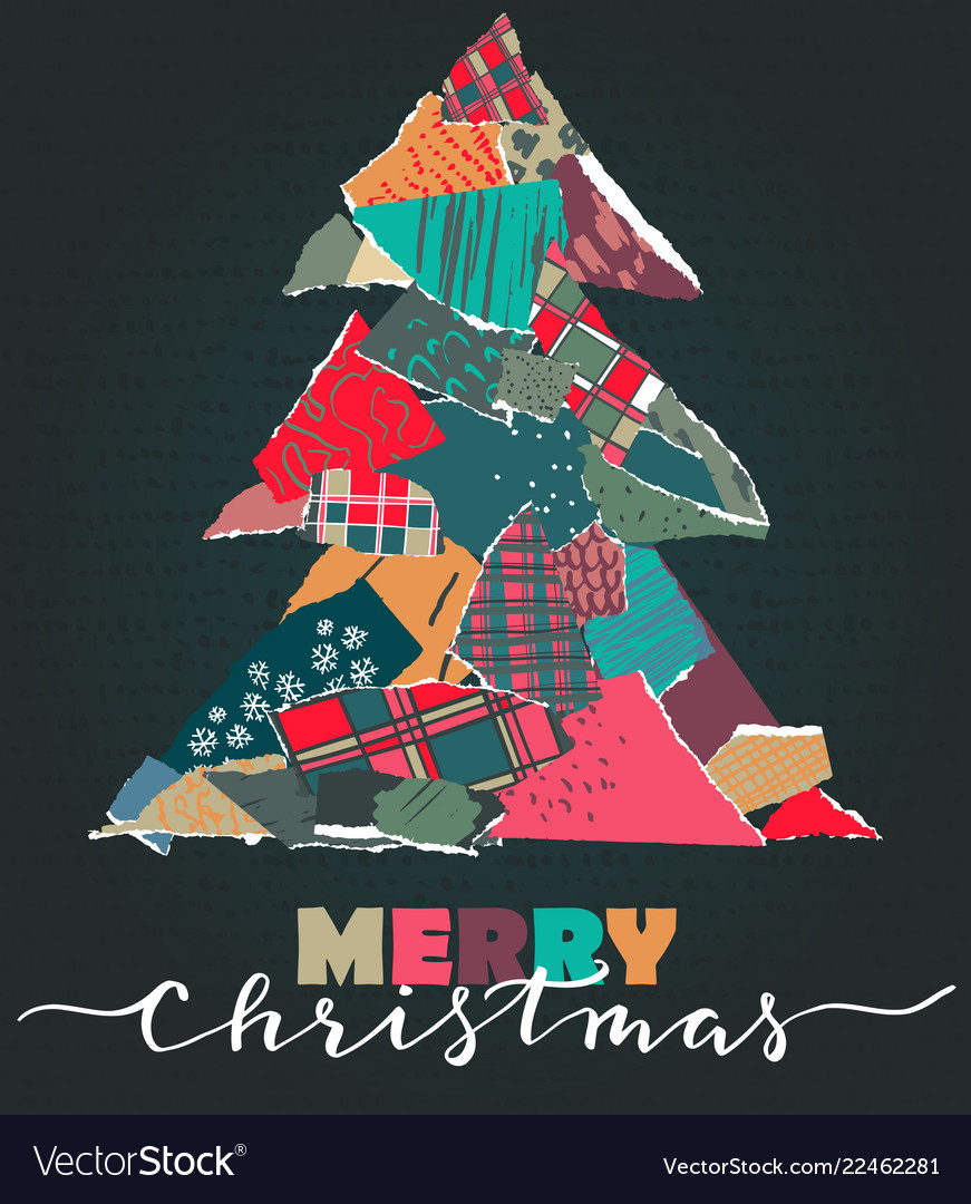 Greeting card with christmas tree in