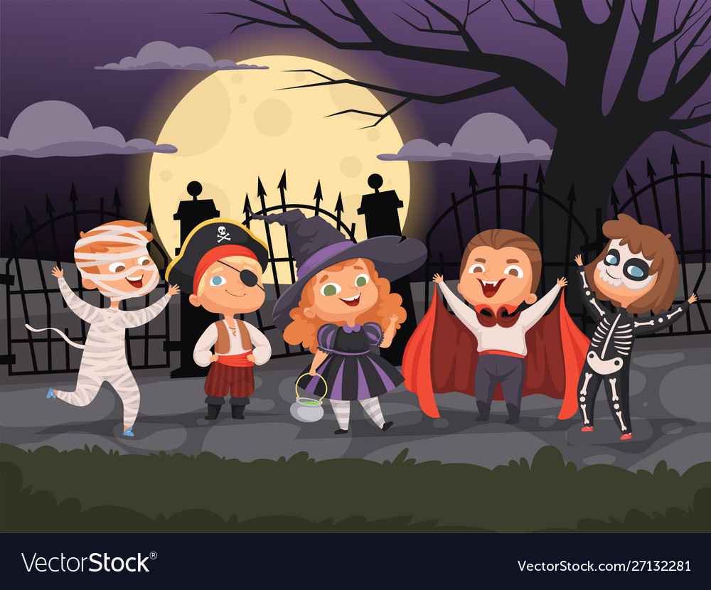 Halloween backgrounds kids playing in scary