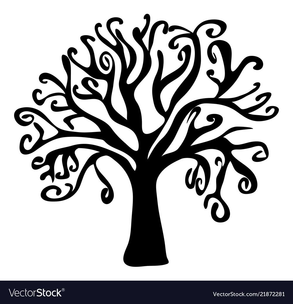 Halloween creepy scary bare tree symbol icon