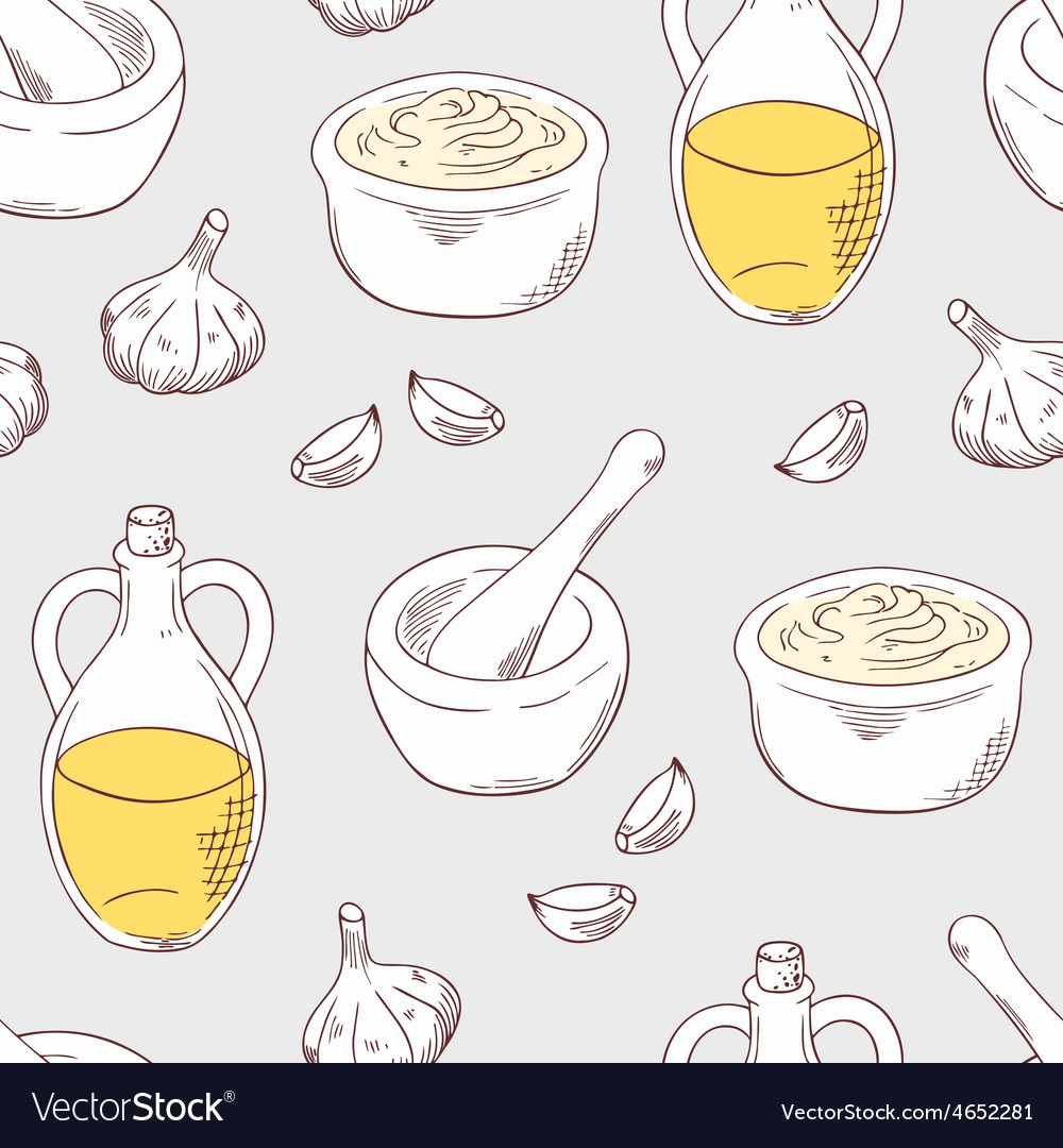 Hand drawn aioli sauce seamless pattern background