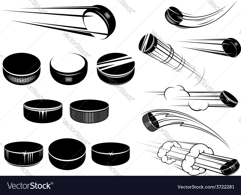 Ice hockey pucks set vector image