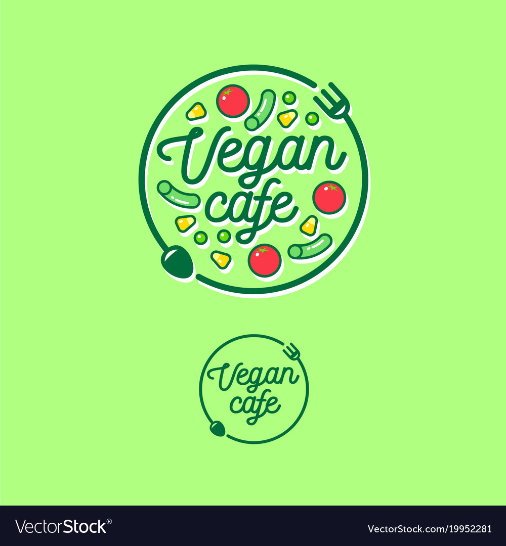 Logo vegan cafe fork spoon vegetables