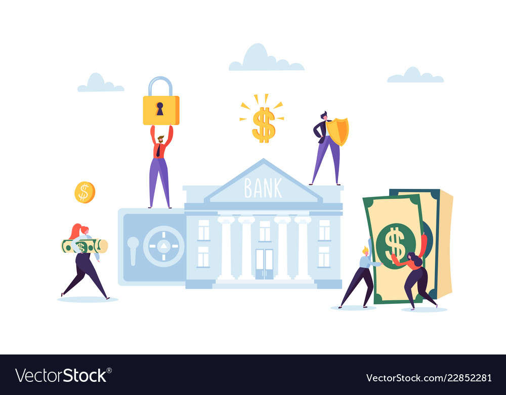 Money savings concept business people characters