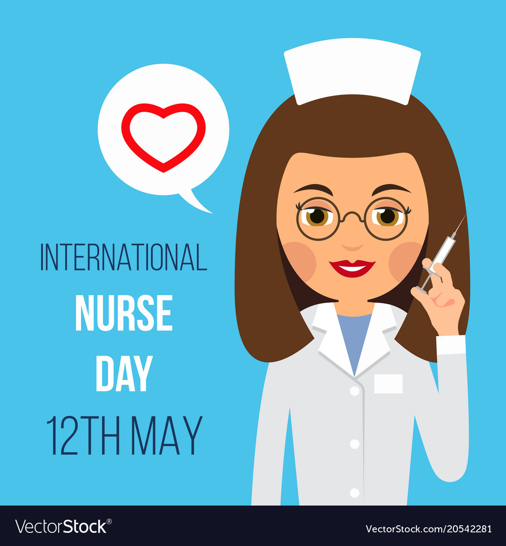 Nurse day nurse is holding syringe in her hand vector image