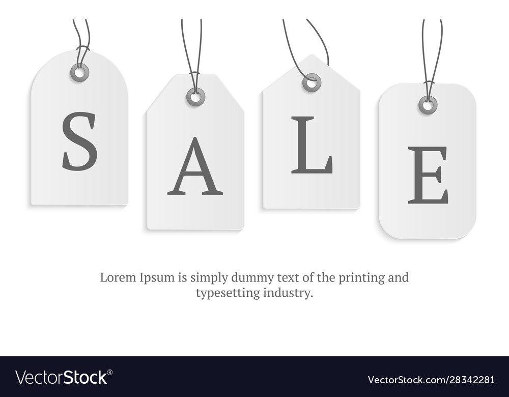 Realistic paper price tag with text sale stock