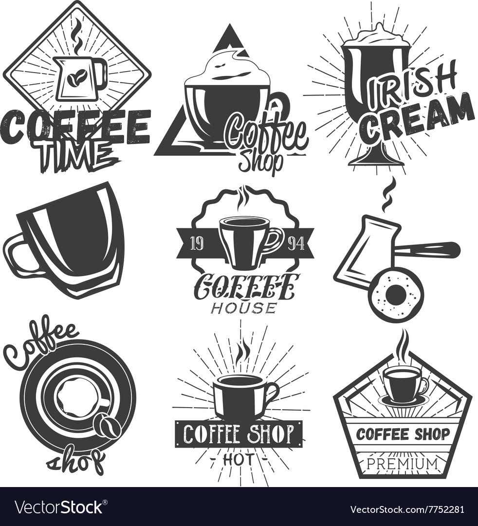 Set of coffee and cafe labels in vintage