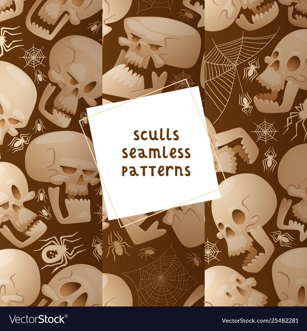 Skull seamless pattern dead head crossbones