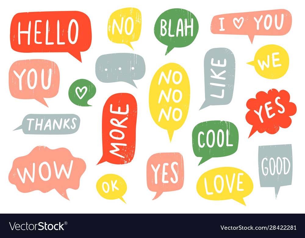 Textured speech bubble signs thanks sign yes and