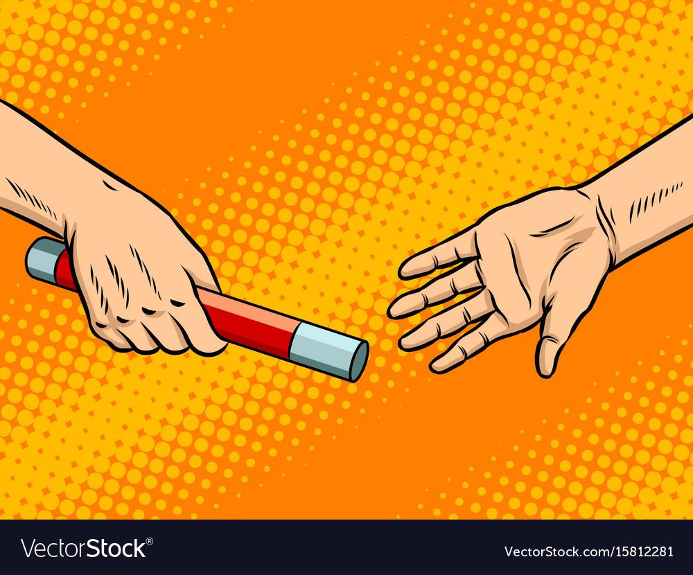 Transfer of baton pop art vector image