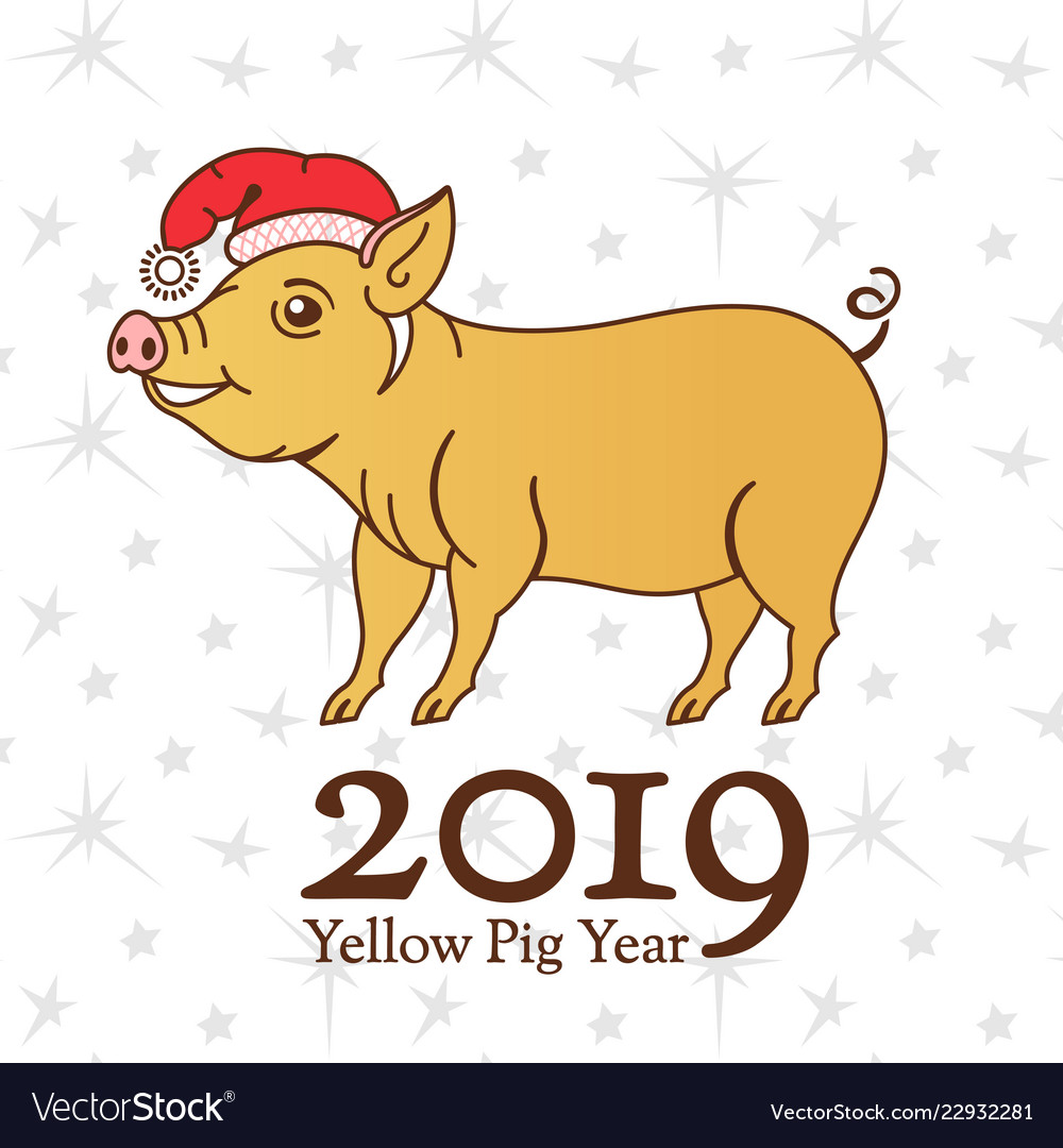 Yellow earth pig symbol of 2019 on the