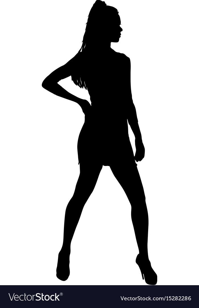 Beautiful fashion girl silhouette on a white