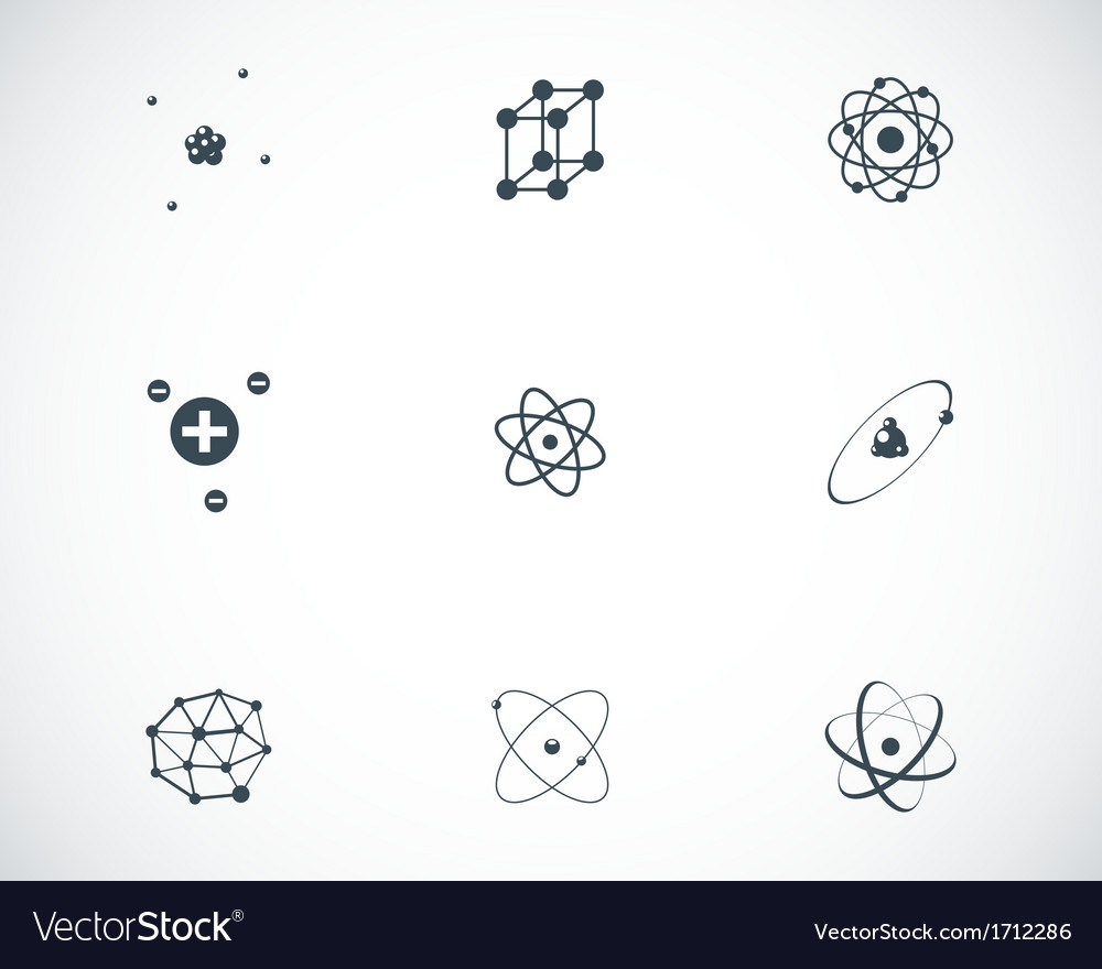 Black atom icons set